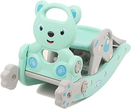 HUXIUPING Kinder Rutsche Schaukelpferd ZWeißn-One-Geburtstagsgeschenk EIN Jahr alt Baby Baby Dual-Use-Spielzeug Trojaner-mädchen (Farbe   Blau)
