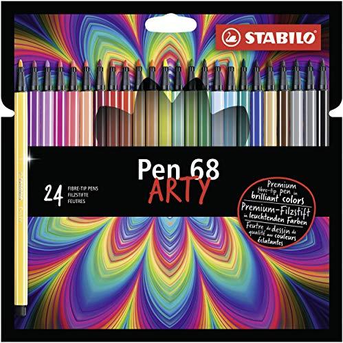 Premium-viltstift - STABILO Pen 68 - ARTY - verpakking van 24 met ophanglus - met 24 verschillende kleuren
