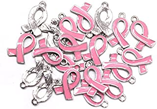 Pomeat 20PCS Pink Ribbon Pendants Breast Cancer Awareness Charms Beads Dangle Pendant Accessories