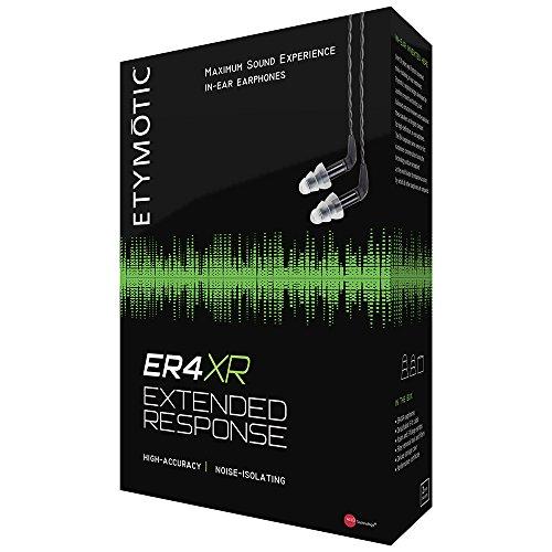 Etymotic ER4-XR Extended Response, geräuschisolierender In-Ear-Kopfhörer mit austauschbarem Kabel, Schwarz