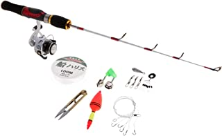 Perfeclan Mini Ice Fishing Rod and Reel Line Float Snap Combo Travel Fishing Tackle