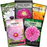Sow Right Seeds - Flower Seed Garden Collection for Planting - 5 Packets Includes Marigold, Zinnia, Rose Mallow, Cape Daisy, and Aster - Wonderful Gardening Gift