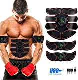SHENGMI EMS Muscle Stimulator,Abs Trainer Abdominal Belt with LCD Display & USB Rechargeable,Ab Belt Toning Gym Workout