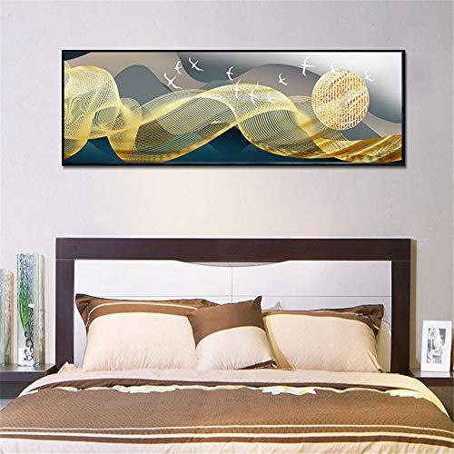 WSNDG Eenvoudige moderne Chinese olieverf nachtkastje muurschildering zonder fotolijst 40x150cm A3