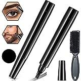 Kit De BolíGrafo De Relleno Para Barba,Negro Relleno de lápiz de barba para hombres con cepillo,Impermeable y duradero, kit de bolígrafo relleno de barba para bigotes y cejas (Negro)