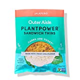 Outer Aisle Gourmet Cauliflower Sandwich Thins | Keto, Gluten Free, Low Carb & Paleo | Jalapeno 2-Packs