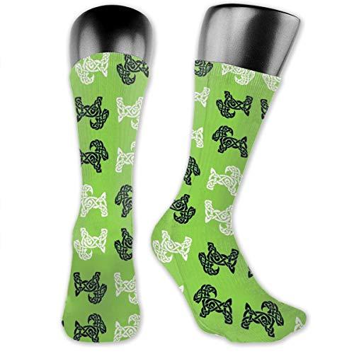 Celtic Goat On Green Socks Men's Women's Athletic Soccer Dress Socks Fancy Crew Socks