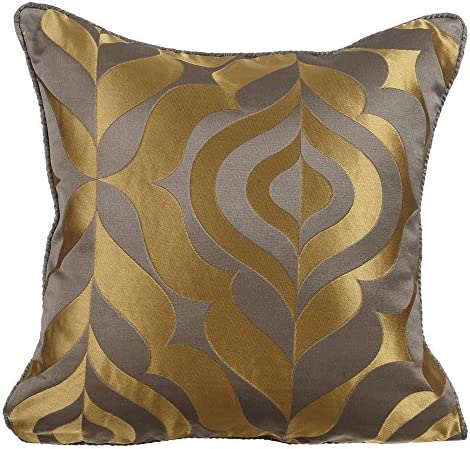 Brown Velvet Gold Euro Sham Throw pillow Luxury Contemporary Modern Toss Embroidered Embellished Custom Accent Personalised 26 x 26 24 x 24