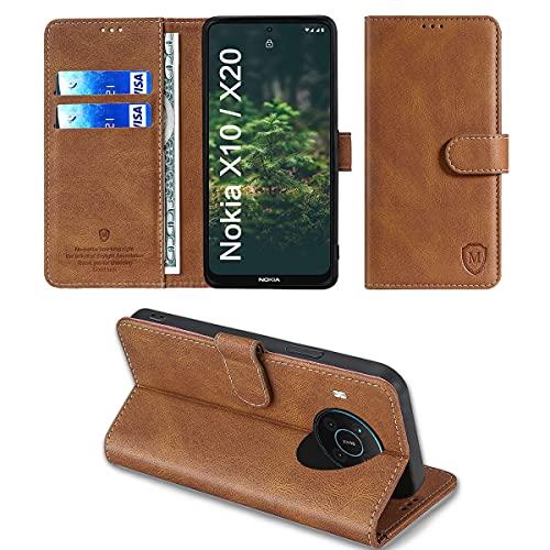 xinyunew Wallet Serie Handyhülle für Nokia X10/X20 Hülle Leder Flip Hülle Cover Schutzhülle für Nokia X10/X20 Tasche, Braun