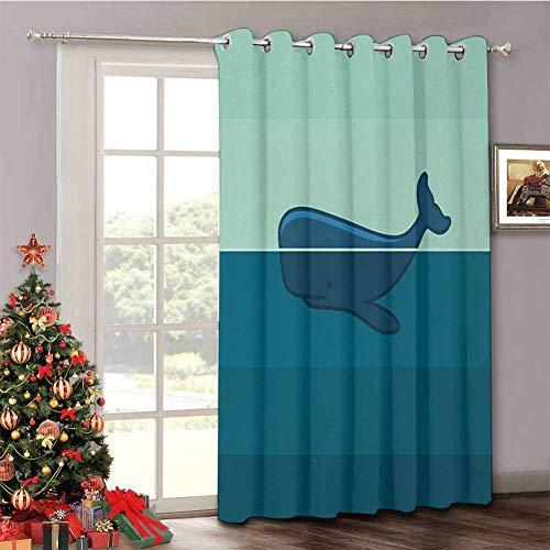 HouseLook Whale - Cortinas opacas extra anchas con diseño de ballena, color azul y azul oscuro