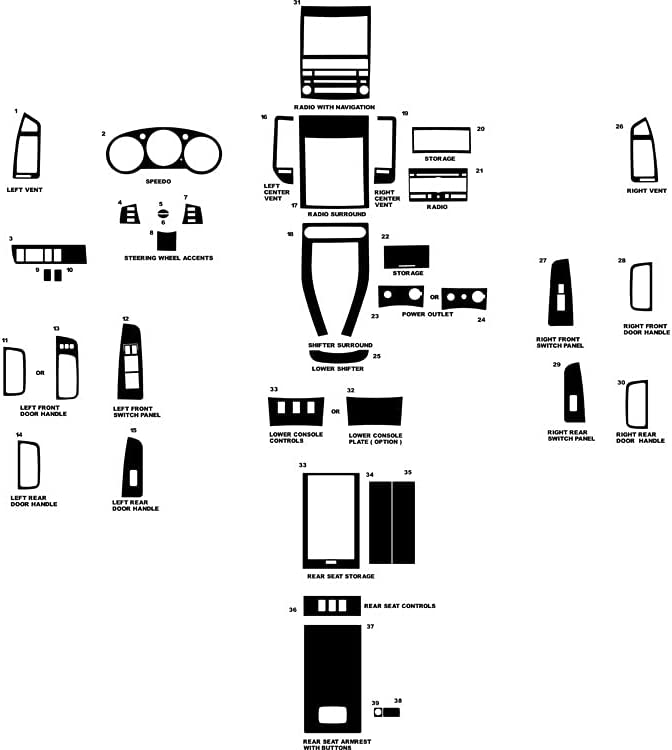 Body & Trim Carbon Fiber 3D Black Rdash Dash Kit Decal Trim for ...