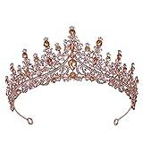 XINTE Hochzeit Haarschmuck Für Frauen Hochzeitskrone Prinzessin Tiara Kostüm Party Zubehör Für Brithday Halloween Babyshower (Rosengold Diamanten)