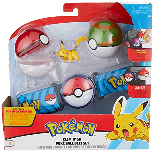 Pokemon Clip N Go Poke Ball Belt Set, Comes with Poke Ball, Nest Ball and 2-Inch Pikachu Figure- Perfect for any Trainer