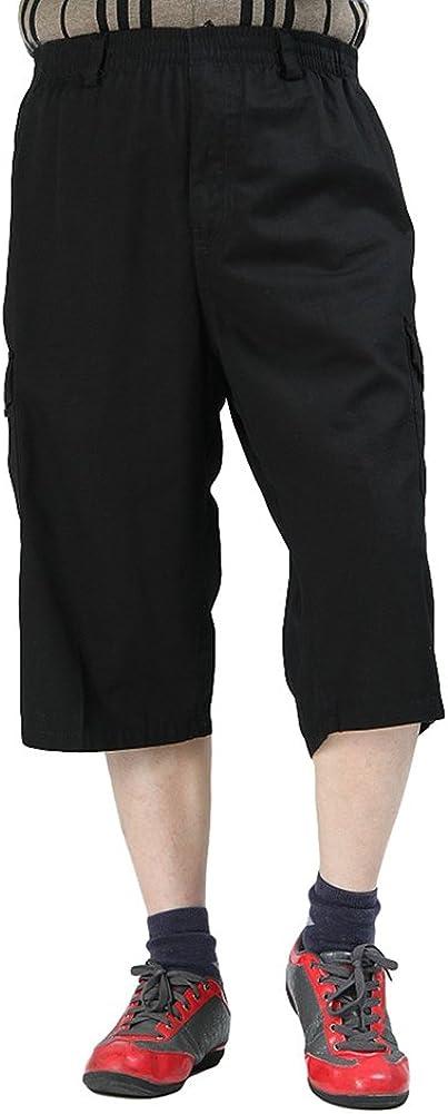 Chickle Men's Cotton Loose-Fit 3/4 Long Cargo Shorts XL Black