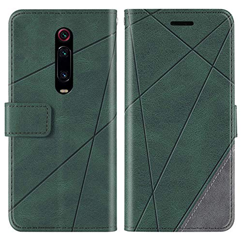 KKEIKO Hülle für Xiaomi MI 9T / MI 9T Pro, Brieftasche PU Leder Schutzhülle Klapphülle Tasche mit Kartensteckplatz, Stoßfest TPU Hülle für Xiaomi MI 9T / MI 9T Pro - Grün