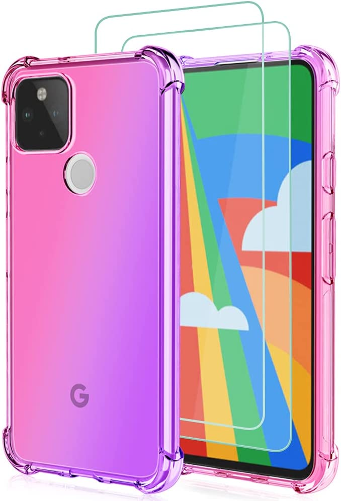 Osophter for Pixel 5A Case Google 5A 5G Case with 2pcs Screen Protector Clear Transparent Reinforced Corners TPU Shock-Absorption Flexible Cell Phone Cover for Google Pixel 5A 5G(Pink Purple)