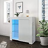 LEMROE Aparador blanco lacado LED, 1 puerta, mueble de almacenamiento de salón con iluminación RGB de 12 colores, estilo moderno, mueble de salón blanco