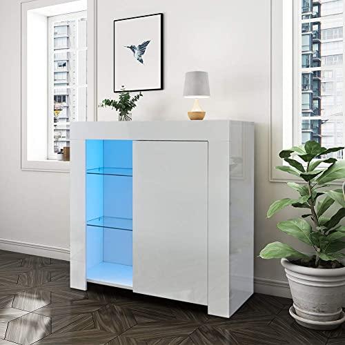 LEMROE Buffet Blanc laqué LED, Brillant 1 Porte, Meuble de Rangement de Salon avec éclairage RVB 12 Couleurs, Style Moderne, Buffet comode Salon Blanc