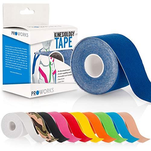 Proworks Kinesiologie Tape [5cm x 5m Rollenlänge] Tape für Muskeln und Gelenke [Wasserfest] für Training, Physiotherapie und Schmerztherapie Dunkelblau