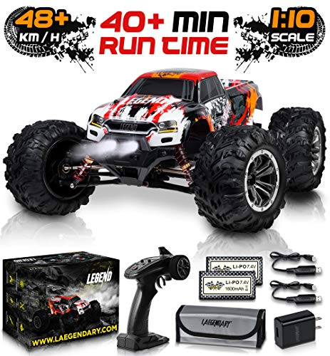 1:10 Scale Large RC Cars 48+ kmh Speed - Boys Remote Control Car 4x4 Off Road Monster Truck Electric - All Terrain Waterproof Toys Trucks for Kids and Adults - 2 Batteries + Connector for 30+ Min Play