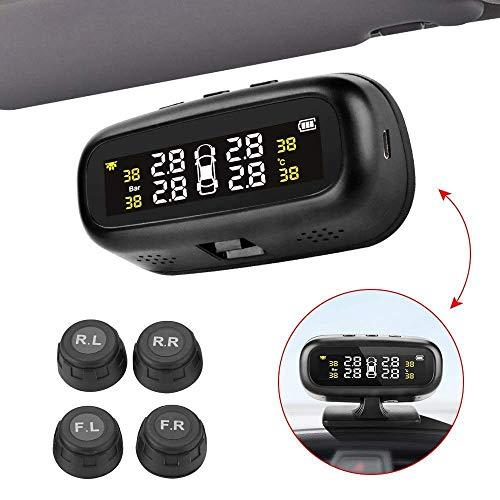 TPMS ReifendruckKontrollsystem Solar Energie und USB Wiederaufladbares Drahtloses-Reifendruckkontrollsystem mit LCD-Display und 4 Reifendrucksensor Reifendruck-Autoalarmsyste für Auto, SUV, KFZ