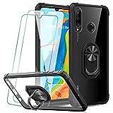KEEPXYZ Funda Huawei P30 Lite + 2 Pcs Protector de Pantalla Cristal Vidrio Templado, Parte Posterior Dura de PC Transparente Silicona Carcasa con 360 Grados iman Soporte para Huawei P30 Lite