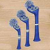 JHM-Blue Crown Pattern Knit Cubierta de la Cabeza de Golf 3 PCS/Set,Fácil de Poner y Despegar,con Pompones,Etiquetas Rotativas,Fundas Cabeza de Golf Clásico Vendimia