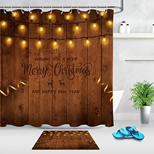 Weihnachtslichter Girlande Duschvorhang auf rustikalen hölzernen Hintergr& gesetzt Duschvorhang Badematte Set 12 Haken Duschvorhang wasserdicht Badzubehör
