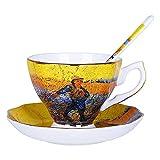 JISHIYU Van Gogh Juego de café con la Cuchara de la Vendimia de la cerámica Famosa Pintura del Juego de té Servicio de té platillo for Adultos, Hora del té de la Tarde, (Color : A)