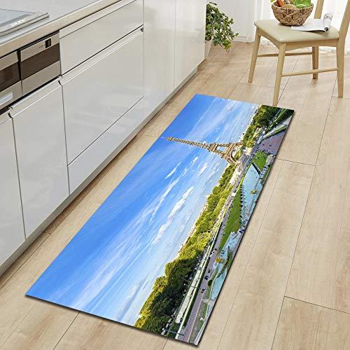 Antislip, loper tapijten voor wasmachine, kamer, slaapkamer, keuken, woonkamer, hal, moderne print, polyester, machinewas lange tapijten, Frankrijk Parijs Tower Blue Sky 24 × 36 inch (60 × 90 cm)