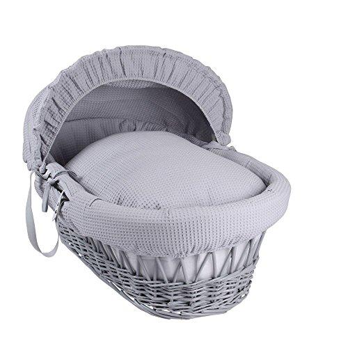 Clair de Lune–Cesto de mimbre gris para bebé con sábana.