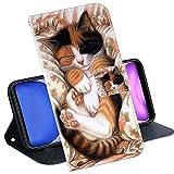 Kingyoe Handytasche Kompatibel mit Wiko View Prime Handyhülle Schutzhülle Tasche für Handy Wiko View Prime Hülle Leder Brieftasche Hülle Cover,PU Ledertasche Flip Hülle Lederhülle[Katze-2]