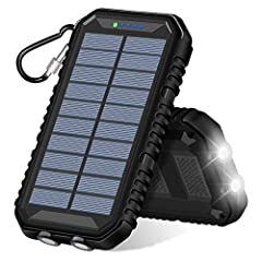 15000mAh High Capacity: It can charge an iPhone 8 more than 5.5 times, a Samsung S7 over 3.5 times or an iPad mini 4 over 2 times. You can take it to the airplane. Solar Power: The panel is as large as the iPhone 8 plus - 5.5 inches, which is larger ...