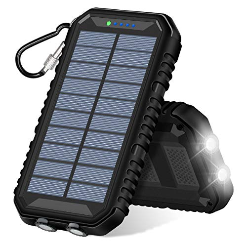 Solar Charger 15000mAh ADDTOP Portable Power Bank with Dual USB 2.4A Waterproof Solar Phone Charger with Flashlight for Smart Phones, Tablets and Outdoor Camping