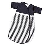 Gesslein 770037 Bubou - Saco de dormir para bebé con mangas desmontables (regulador de temperatura, para todo el año, 50/60 cm, diseño de rayas, color azul y blanco, 250 g)