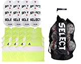 SELECT Club Soccer Ball Package - Pack of 12 Soccer Balls, 12 Youth size Scrimmage Vests(Yellow) + Duffle Ball Bag and Hand Pump, White, Size 3