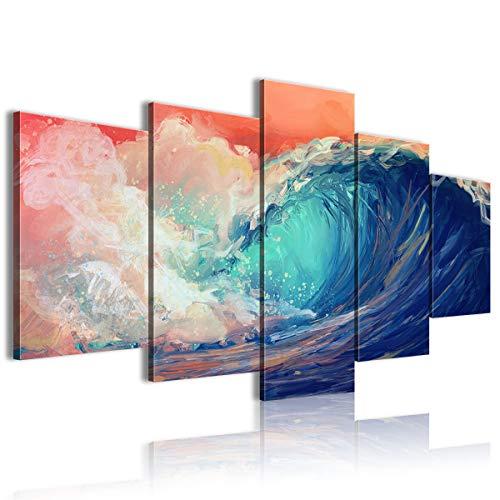 Lienzo impreso en la pared HD 5 panel artístico onda tienda ambiente 100x50cm enmarcado