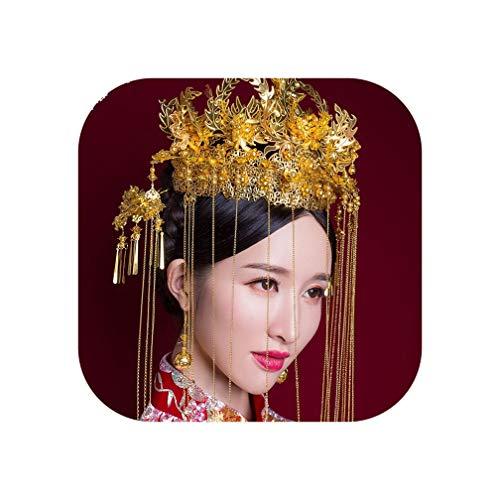 Couronne de mariée traditionnelle chinoise de luxe pour cheveux - Accessoire de cheveux rétro - Doré