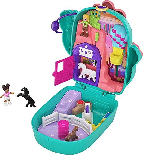 Polly Pocket Pocket World Cactus Cowgirl Ranch Compact, 2 Micro Dolls, Accessories