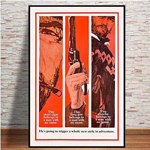 qianyuhe Cuadros de Arte de Pared Clint Eastwood Un puñado de dólares póster de película clásica Carteles e Impresiones para la decoración del hogar de la habitación 60x90cm