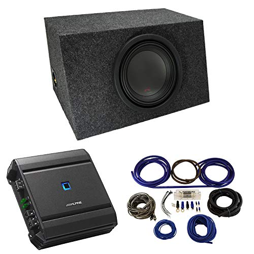 Universal Car Stereo Hatchback Sealed Single 10' Alpine Type R R-W10D4 Sub Box Enclosure with S-A60M Amplifier & 4GA Amp Kit