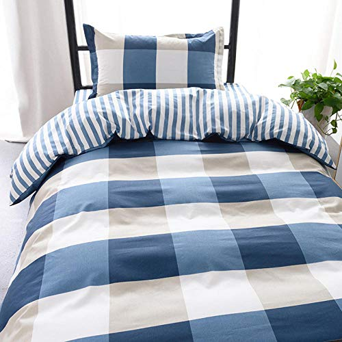 Dekbedovertrek voor tweepersoonsbed, 3-delig, voor slaapruimtes van 0,9-1,35 m, met rooster, blauw, wit, grijs