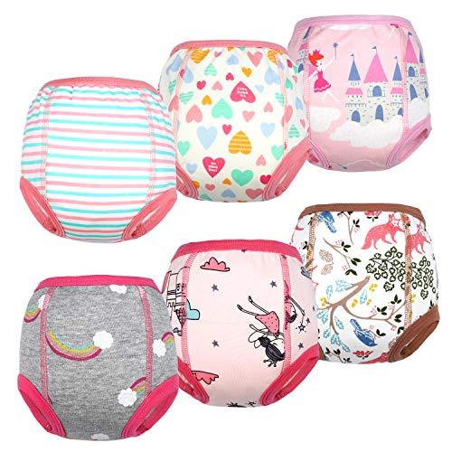 Flyish Packung mit 6 Baby Trainingshosen Töpfchen Unterwäsche Kleinkinder Windelhosen Toilettentraining Unterwäsche Entzückende Tiermuster Trainingshose MADCHEN 2 Jahre