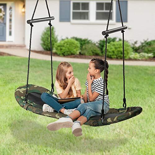 Walomes Saucer Tree Swing Surf Kids Outdoor Adjustable Oval Platform Swing Set w/ Handle