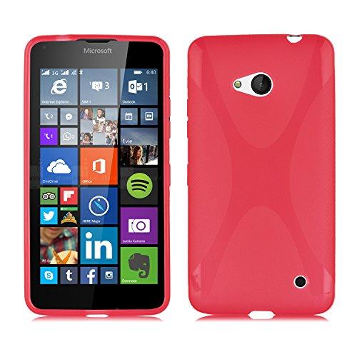 Cadorabo Custodia per Nokia Lumia 640 in Rosso Cremisi - Morbida Cover Protettiva Sottile di Silicone TPU con Bordo Protezione - Ultra Slim Case Antiurto Gel Back Bumper Guscio