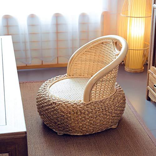Decoración hogareña Rattan Japonés Zaisu Silla sin piernas Handmade- Rattan Woven Sour Sitting Tatami Silla for Bay Ventana Cama Lazy Sofa Meditación (Color : A)