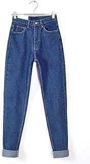 KNlang 女性ヴィンテージハイウエストのジーンズスキニー黒青ママデニムパンツパンツストリート布のためにボーイフレンドジーンズ (色 : Deep blue, サイズ : 29)