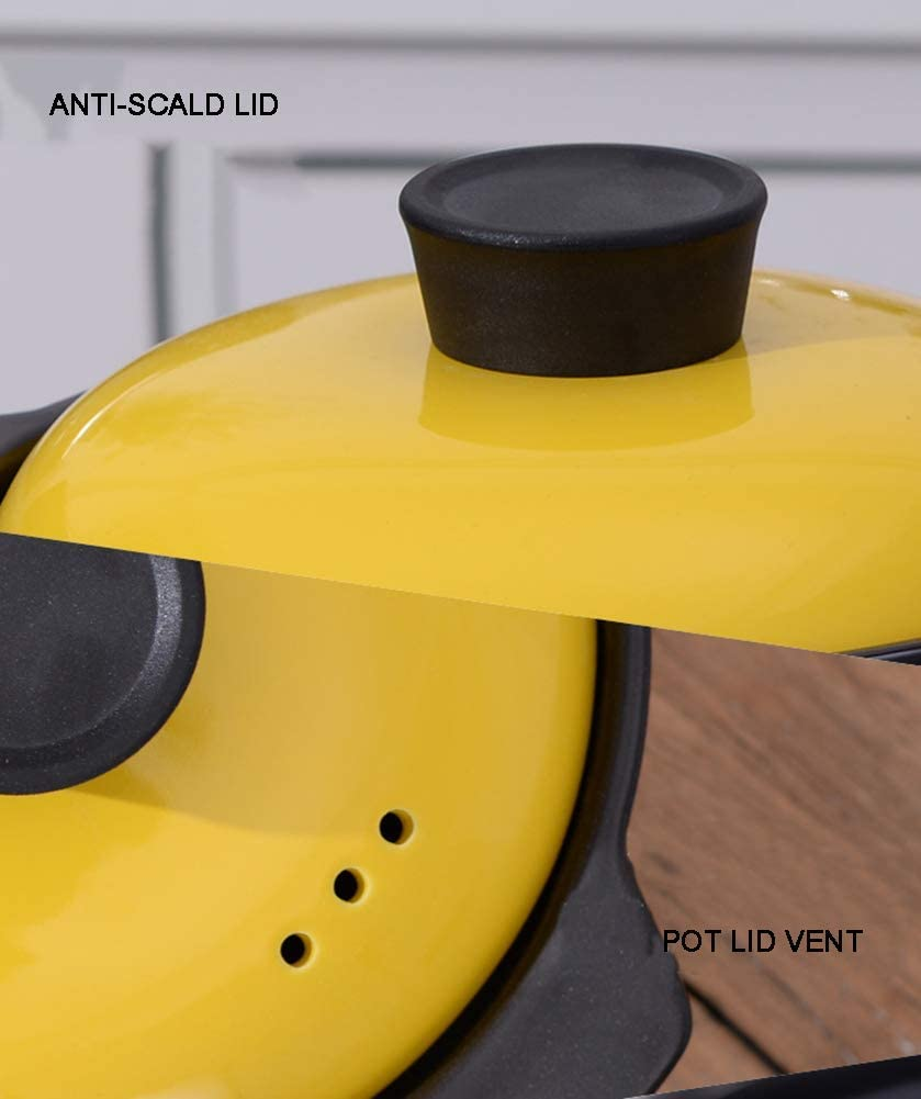 NMDD Casserole en céramique résistante à la Chaleur, Casserole de Batterie de Cuisine Durable pour Braiser la Cuisson Lente, Casserole Ronde avec Couvercle Noir 4l Black