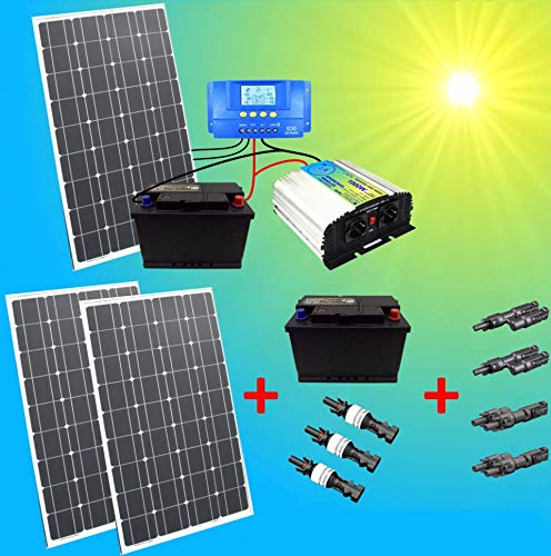 300W Komplette 220V Solaranlage TÜV mit 2X 100Ah Akku + 3X 100W Solarmodul + 1000W Spannungswandler Gartenhaus NEU Solar Garten Set Inselsystem
