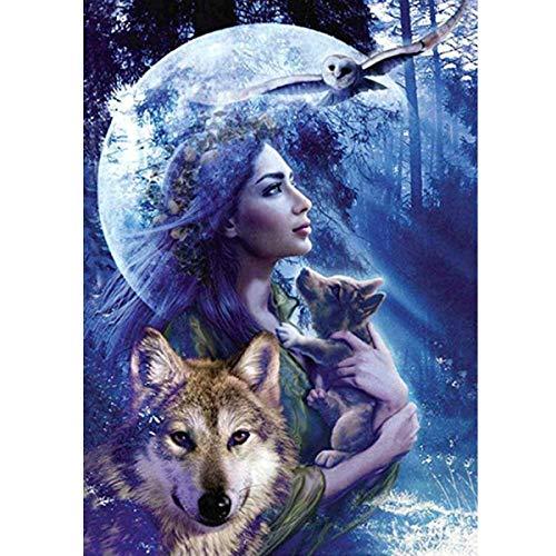 MXJSUA DIY 5D Diamant Malerei Full Round Drill Kit Strass Bild Kunsthandwerk für Home Wall Decor 30x40 cm Frau und Wolf im Wald